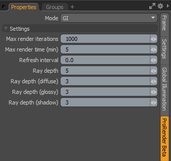 ProRender Settings and Limitations